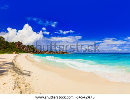 Panorama of tropical beach - nature background - stock photo