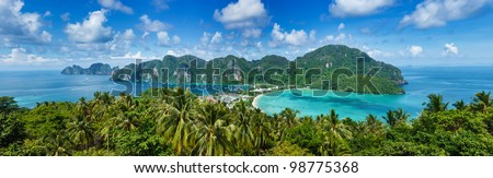 Panorama of tropical island. Thailand - stock photo