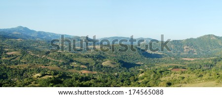 Panorama of tropical mountains in Cuba - stock photo