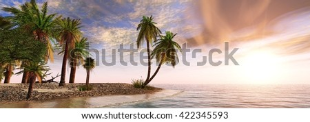 panorama of tropical sunset, palm trees on the beach under the sun, banner, 3D rendering