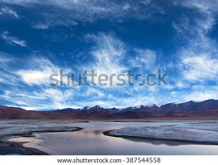 Panorama of Tso Kar salt water lake in Ladakh, North India. Tso Kar located in Rupsa valley, nearly 240 km southeast of Leh at a height of around 4,500 m.