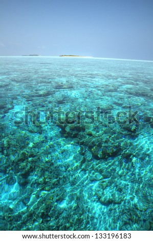 Panorama of Turquoise Lagoon, Maldive Islands