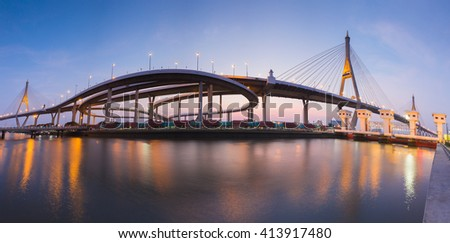 Panorama of Twin Suspension bridge connect to highway waterfront, Landmark of Bangkok Thailand - stock photo