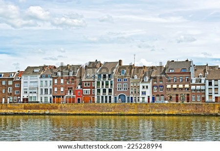 Panorama of typical houses on riverside of Maastricht, Netherlands