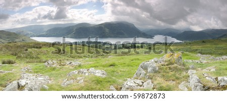 Panorama of Ullswater as seen from Park Brow in the Lake District, England
