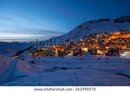 Panorama of Val Thorens by night, Alps mountains, France - stock photo