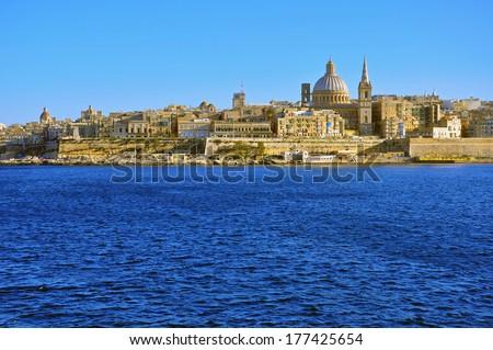 Panorama of Valletta, Malta - stock photo