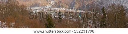 Panorama of valley of Bad Ems in winter, Germany, Europe.