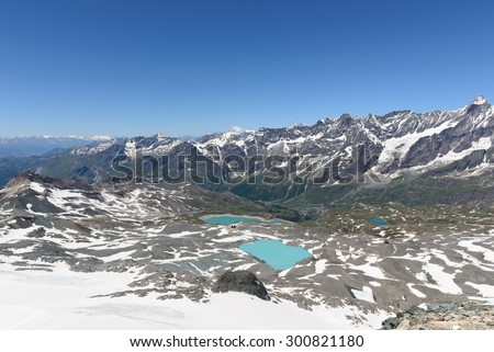 Panorama of Valtournenche, the Matterhorn, Cime Bianche, Dent d'Herens and Grand Tournalin - stock photo