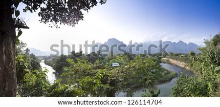 Panorama of Vang Vieng, Laos - stock photo