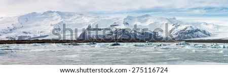 Panorama of vatnajokull Glacier Jokulsarlon lagoon Iceland - stock photo