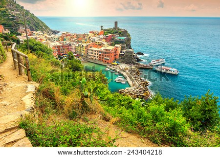 Panorama of Vernazza and majestic sunset,Cinque Terre National Park,Liguria,Italy,Europe - stock photo