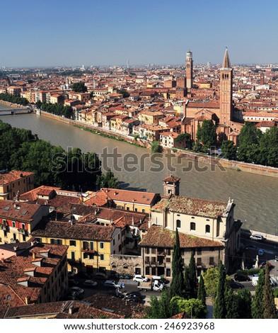Panorama of Verona, Italy - stock photo
