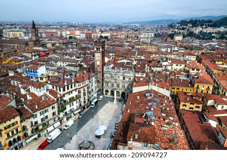 Panorama of Verona, Italy, with Piazza delle Erbe and ancient city of Romeo and Juliet.