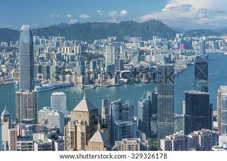 Panorama of Victoria Harbor in Hong Kong - stock photo