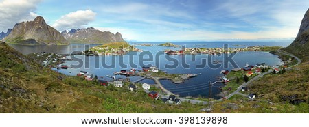 Panorama of village in Norway - stock photo