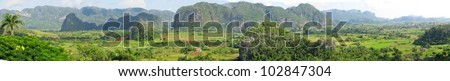 Panorama of Vinales valley in Cuba - stock photo
