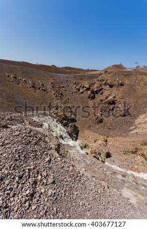 Panorama of volcano in Nea Kameni island near Santorini, Cyclades, Greece