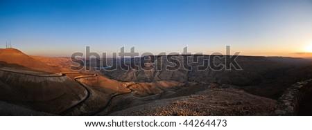 panorama of wadi mujib canyon at sunset, Jordan. - stock photo