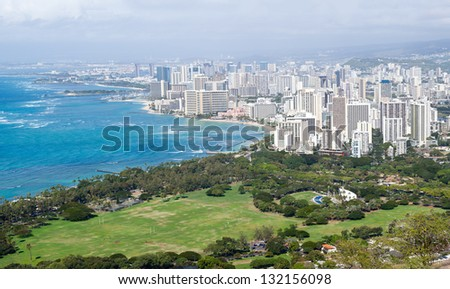 Panorama of Waikiki in Oahu Hawaii from the summit of Diamond Head crater - stock photo