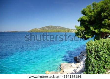 Panorama of warm and clean sea, Croatia Dalmatia Tribunj - stock photo