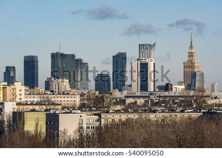 Panorama of Warsaw city from the hill, Poland