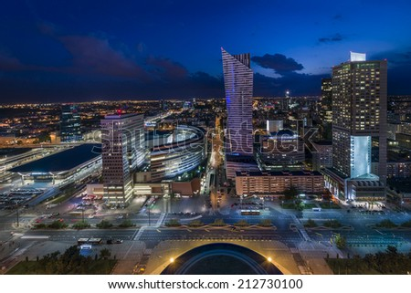 Panorama of Warsaw downtown during the night, Poland - stock photo