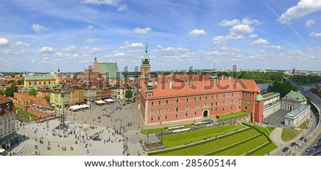 Panorama of Warsaw's Old Town with the Royal castle. Old town in Warsaw is UNESCO World Heritage Site. Poland - stock photo