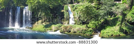 panorama of waterfall cascade duden turkey - stock photo