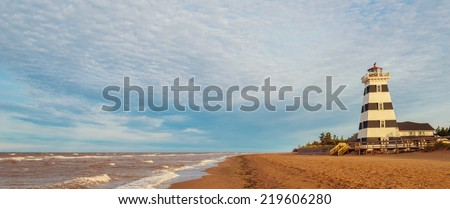 Panorama of West Point Lighthouse (North Cape Coastal Drive, Prince Edward Island, Canada) - stock photo