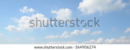 Panorama of white cloud and blue sky in morning - stock photo