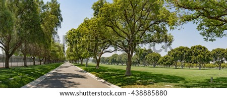 Panorama of wide green park with tall trees alongside the lane. - stock photo