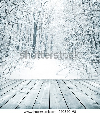 Panorama of winter forest with trees covered snow and wooden floor - stock photo