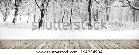 Panorama of winter forest with trees covered snow with wood planks floor - stock photo