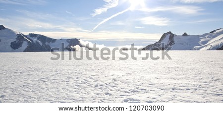 Panorama of Winter landscape at Mountain Cook National Park New Zealand - stock photo