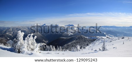 Panorama of winter mountain landscape