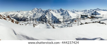 Panorama of winter mountains in Caucasus region,view from Elbrus, Russia