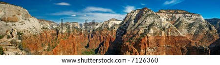panorama of Zion National Park (more than 6,000 pixels wide) - stock photo