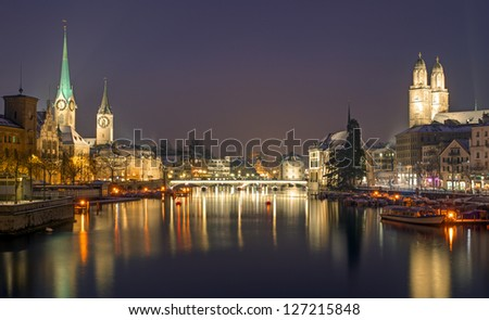 Panorama of Zurich at night - stock photo