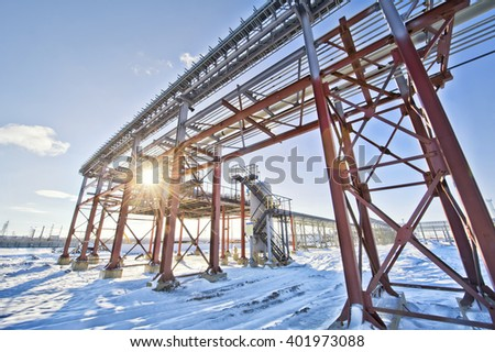 panorama Oil pipe factory which is oil and gas - stock photo