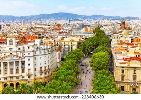 Panorama on Barcelona city from Columbus monument.Barcelona. Spain - stock photo