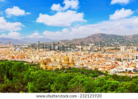 Panorama on Barcelona city from Montjuic castle.Catalonia. Spain. - stock photo