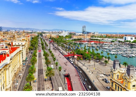 Panorama on Barcelona Seaport  from Columbus monument.Barcelona. Spain