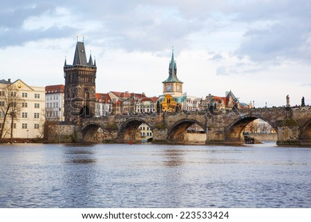 Panorama on Charles Bridge in Prague in the eveining; Czech Republic - stock photo