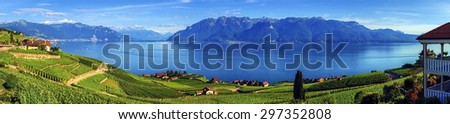 Panorama on Lavaux region by day, Vaud, Switzerland - stock photo