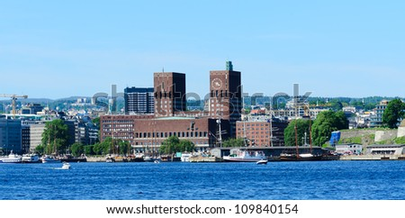 Panorama on Oslo City Hall in central Oslo Norway - stock photo
