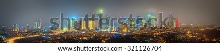 Panorama os Istanbul and Bosporus at night, Turkey - stock photo