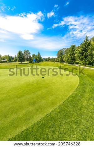 Panorama, outlook at the beautiful golf course  in a sunny day. Canada, Vancouver.