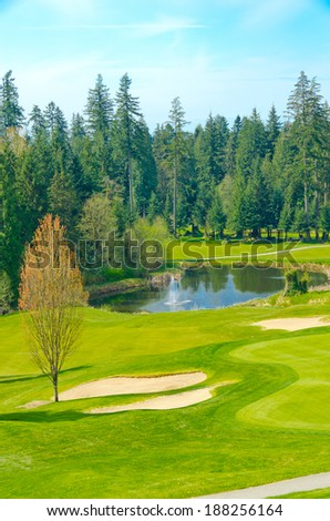 Panorama, outlook at the beautiful golf course in a sunny day with dark blue sky and clouds. Canada, Vancouver. Vertical. - stock photo
