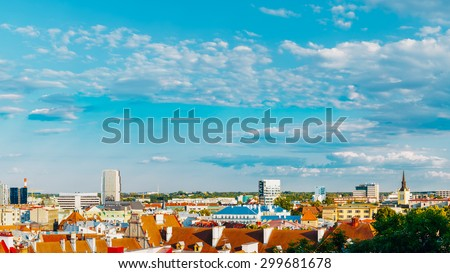 Panorama Panoramic Scenic View Cityscape City Town Tallinn In Estonia - stock photo